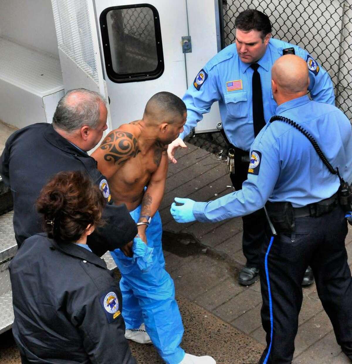 Alleged 'East Coast Rapist' Aaron Thomas of New Haven arrives at Superior Court Monday. Melanie Stengel/Register