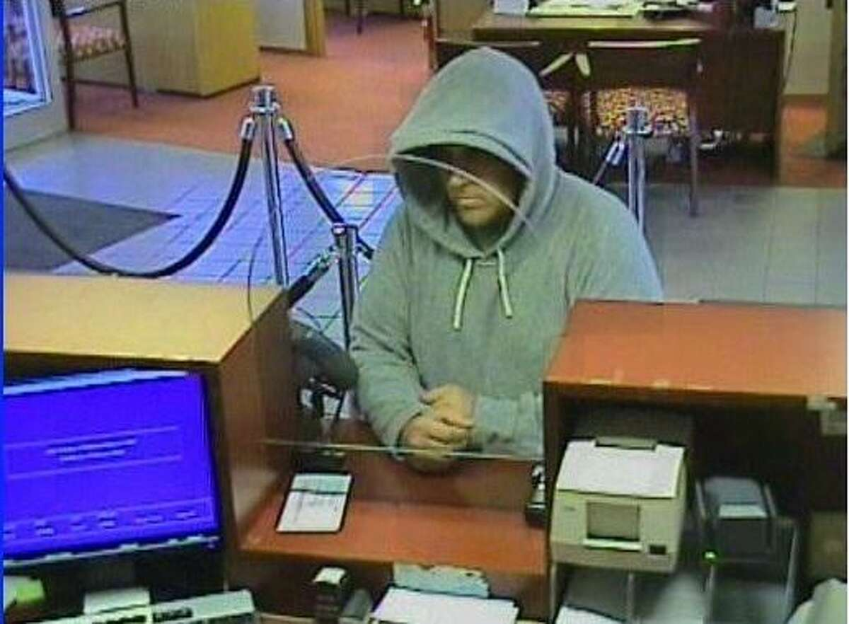 A photo police released, which was taken during an alleged bank robbery on Sargent Drive in New Haven Tuesday morning