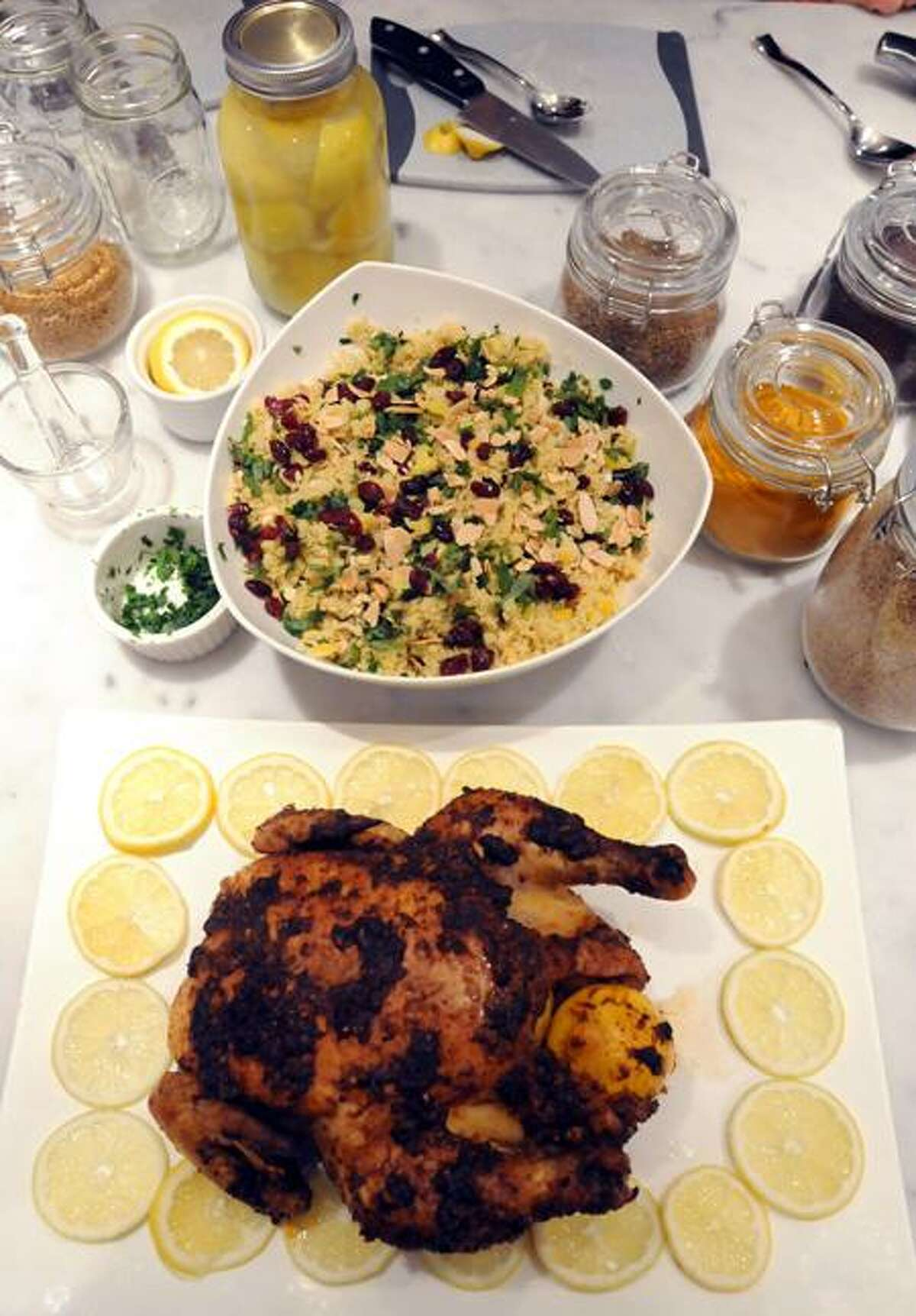 Heide Lang's Fig Cooking School made a Moroccan chicken and couscous meal.