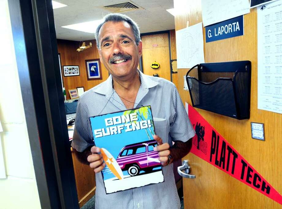 Gene LaPorta, principal at Platt Technical High School, outside his office, is retiring from his post Aug. 1.(Arnold Gold/Register)