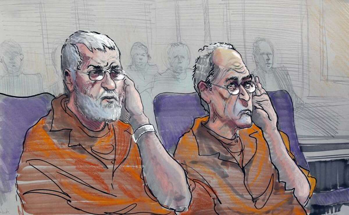 An artist rendering shows Dan Roberts, left, and Frederick Thomas as they appear Wednesday in a federal courtroom in Gainesville, Ga. The two and two other men are accused of planning a terror attack. Associated Press