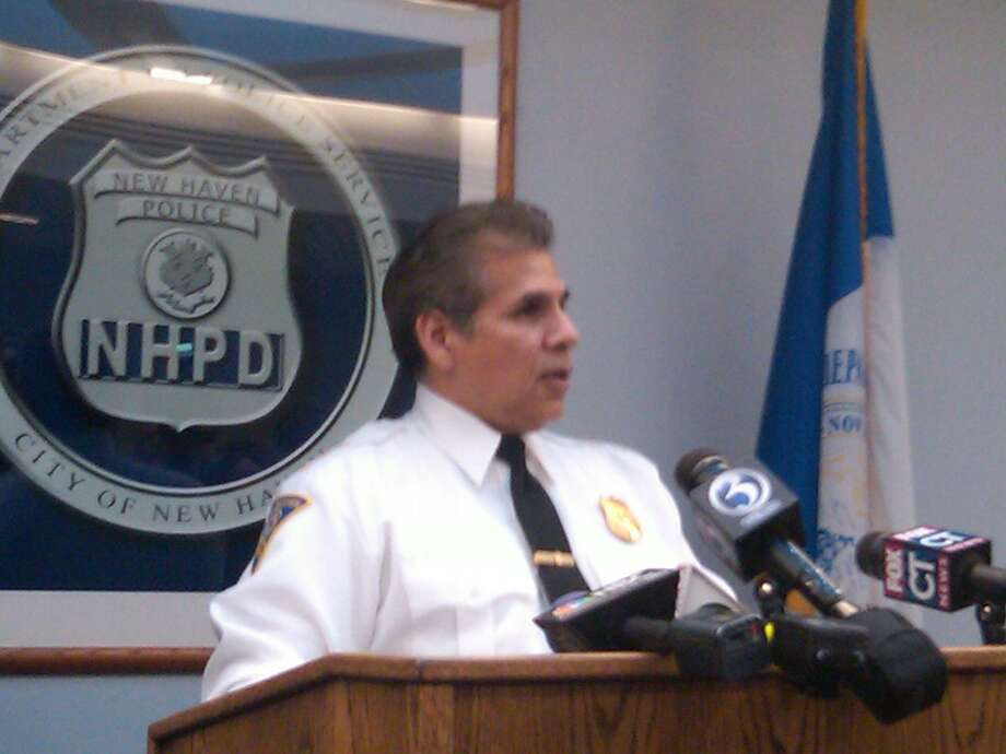 New Haven Police Chief Frank Limon speaks at a press conference Thursday.  Photo by William Kaempffer