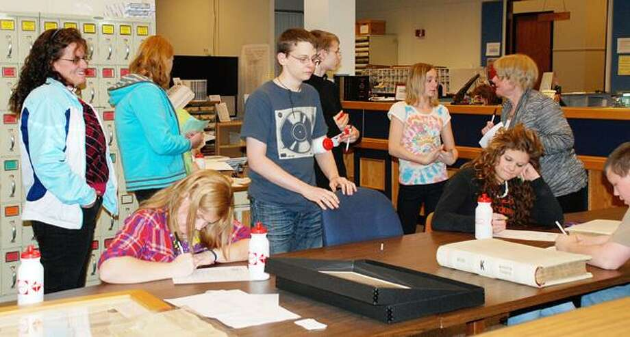 SUBMITTED PHOTO Brookfield students learn about the history of the Town of Brookfield at the County Clerk's office.