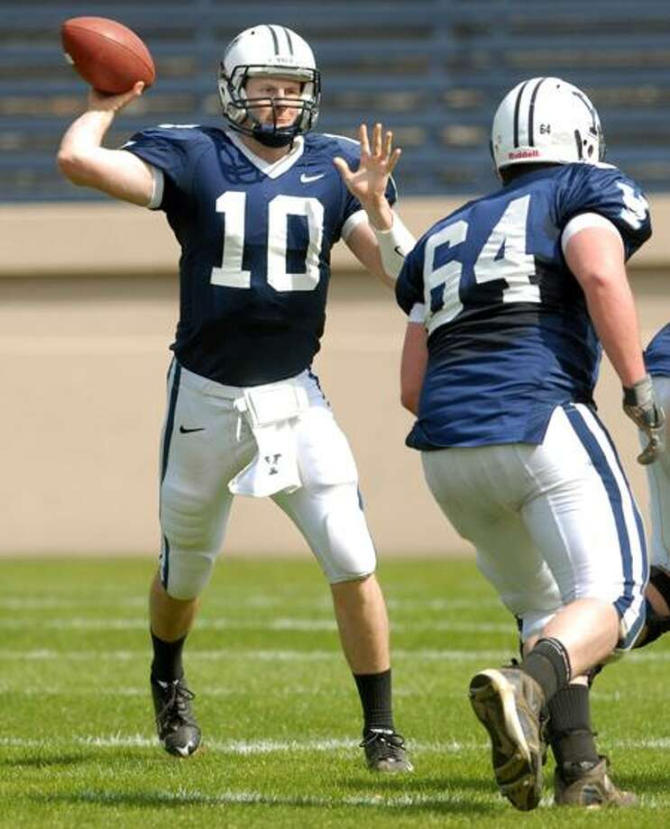 Yale quarterback Patrick Witt is a Rhodes Scholarship finalist, but his interview for the prestigious academic honor falls on the same day as the Bulldogs' game with arch-rival Harvard. (Mara Lavitt/Register)
