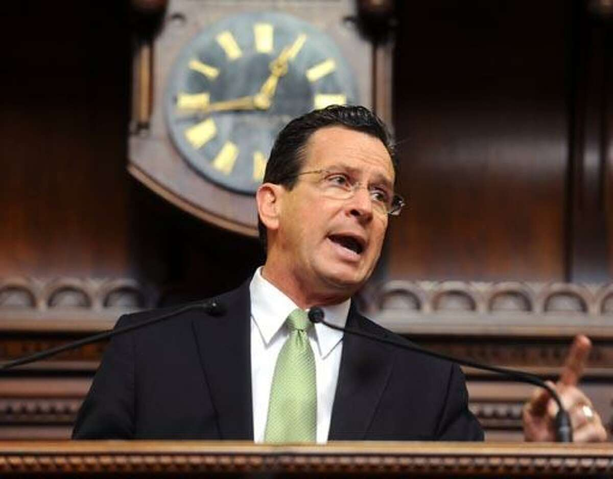 Hartford--Gov. Dannel P. Malloy gives his budget address from the Hall of the House at the State Capitol building in February. Photo by Brad Horrigan/New Haven Register.