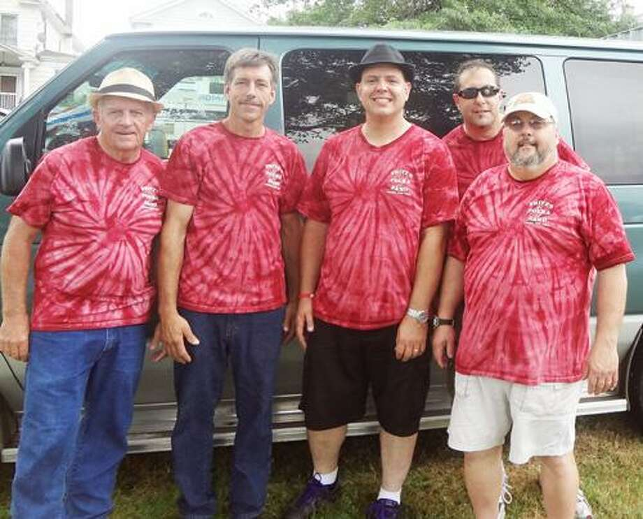 """Photo Courtesy FRITZ'S POLKA BAND From left, Tom Campbell, Frank Nelson, Fred """"Fritz"""" Scherz Jr., Mike Faraino and Gabe Vaccaro."""