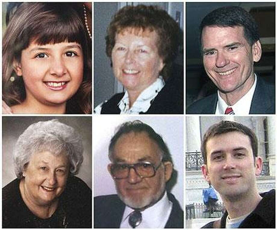 In this photo combo, victims killed at a political event with Rep. Gabrielle Giffords in Tucson, Ariz. on Saturday, Jan. 8, 2011 are shown. From top left, Christina Taylor Green, 9, Dorothy Morris, 76, Arizona Federal District Judge John Roll, 63, from bottom left, Phyllis Schneck, 79, Dorwin Stoddard, 76, and Gabe Zimmerman, 30. (AP Photo) NO SALES, MARICOPA COUNTY OUT