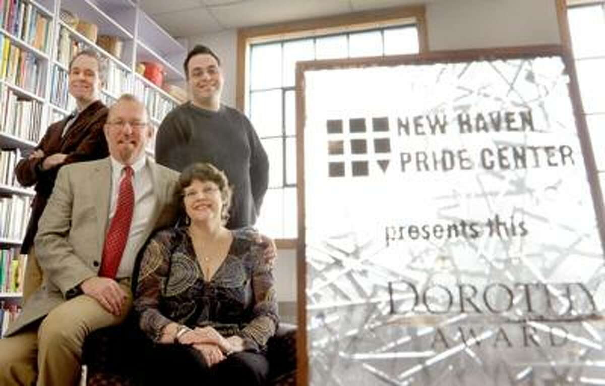 Peter Hvizdak/Register photo: Dorothy Awards organizers include Thomas Donato, co-president of the New Haven Pride Center board, left; Dennis Titley; Kathryn Thomas; and Joshua O'Connell, co-president of the NHPC board.