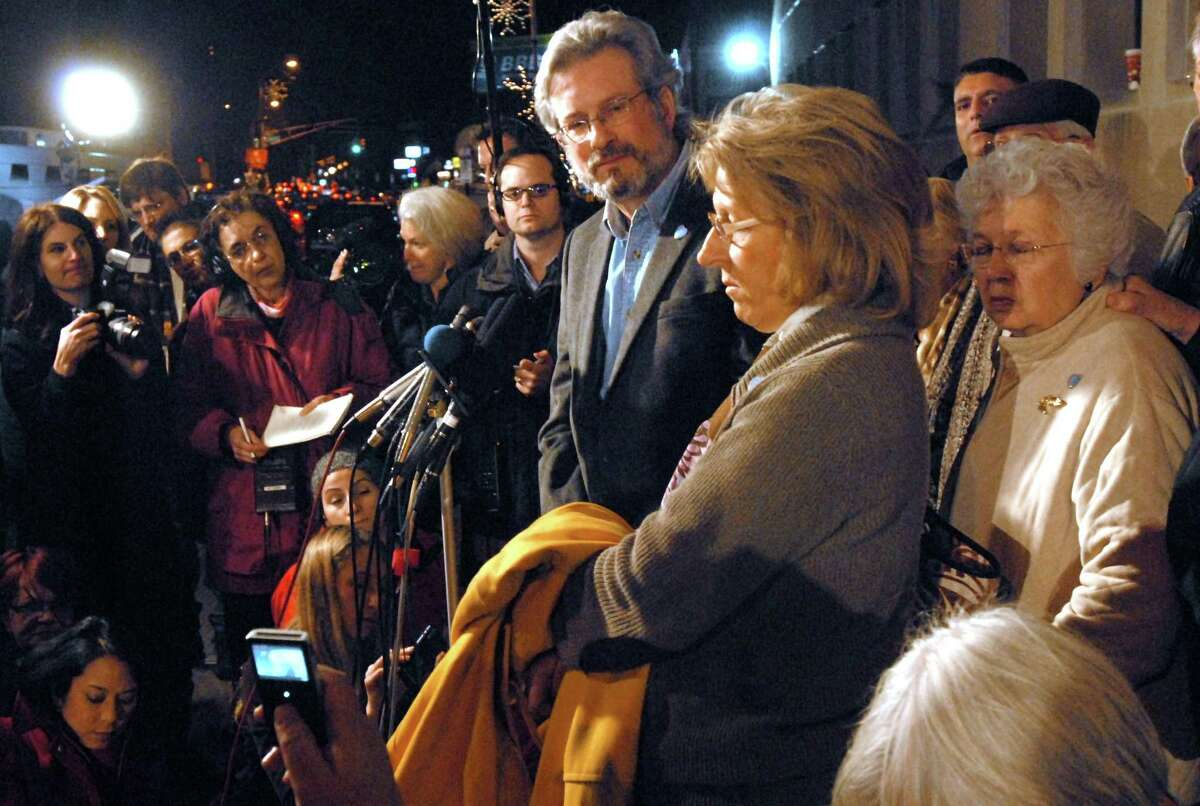 Reaction to the death penalty in the Komisarjevsky trial, New Haven: Dr. William Petit Jr. his sister-in-law and Cynthia Hawke Renn center, and his mother Barbara Petit right. Photo by Mara Lavitt/New Haven Register12/9/11