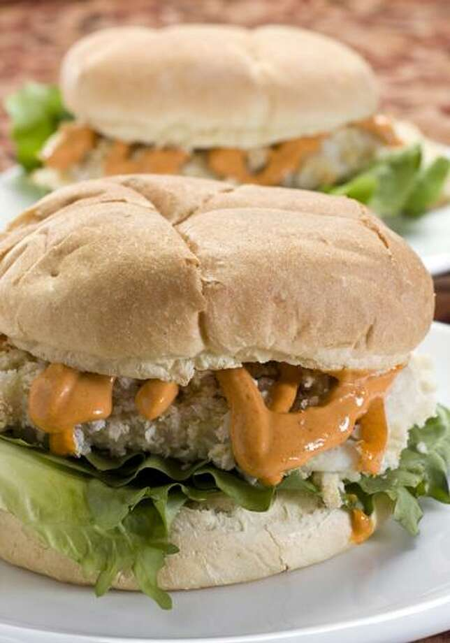 "Larry Crowe/Associated Press photo: ""Fried"" Haddock Sandwich With Thai Red Curry Mayonnaise Photo: AP / FR41490 AP"