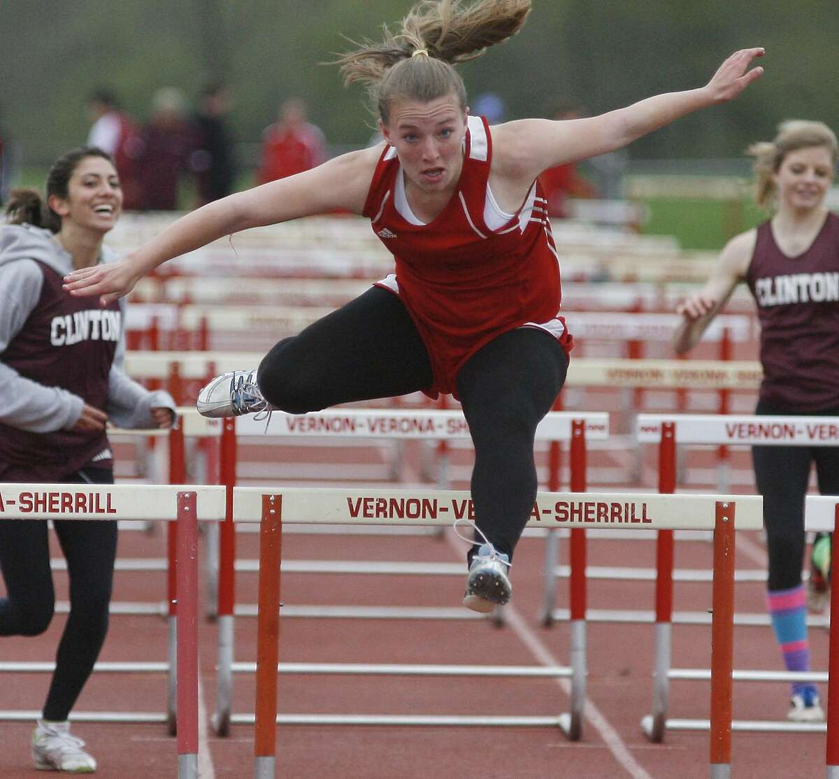Dispatch Staff Photo by JOHN HAEGERVVS Tamara Beal clears the final hurdle for the win of the 100 High hurdles on Wednesday, May 4, 2011 at VVS in a meet against Clinton.