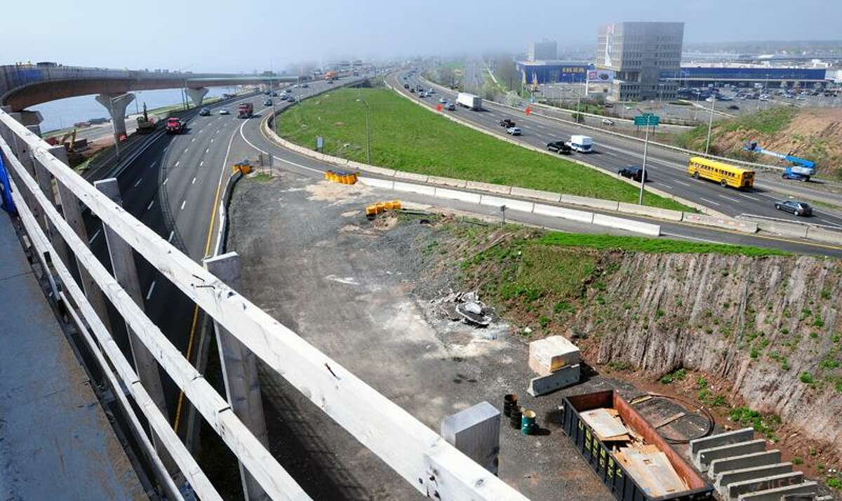 Interstate 95 and the Route 34 exit as viewed from the new Route 34 flyover in New Haven recently. Arnold Gold/Register