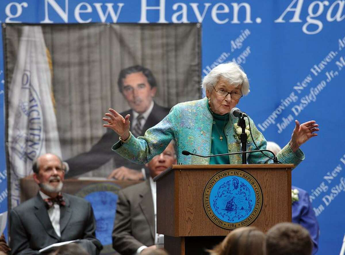 Ellen Logue remembers her brother during the memorial celebration for former New Haven Mayor Frank Logue at City Hall Saturday. Peter Casolino/Register