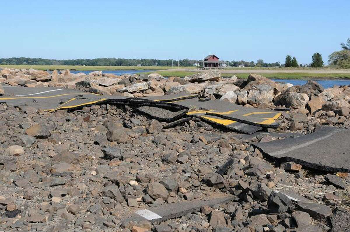 The parking lot at the Guilford town dock was torn up by Hurricane Irene. (Peter Casolino/Register)