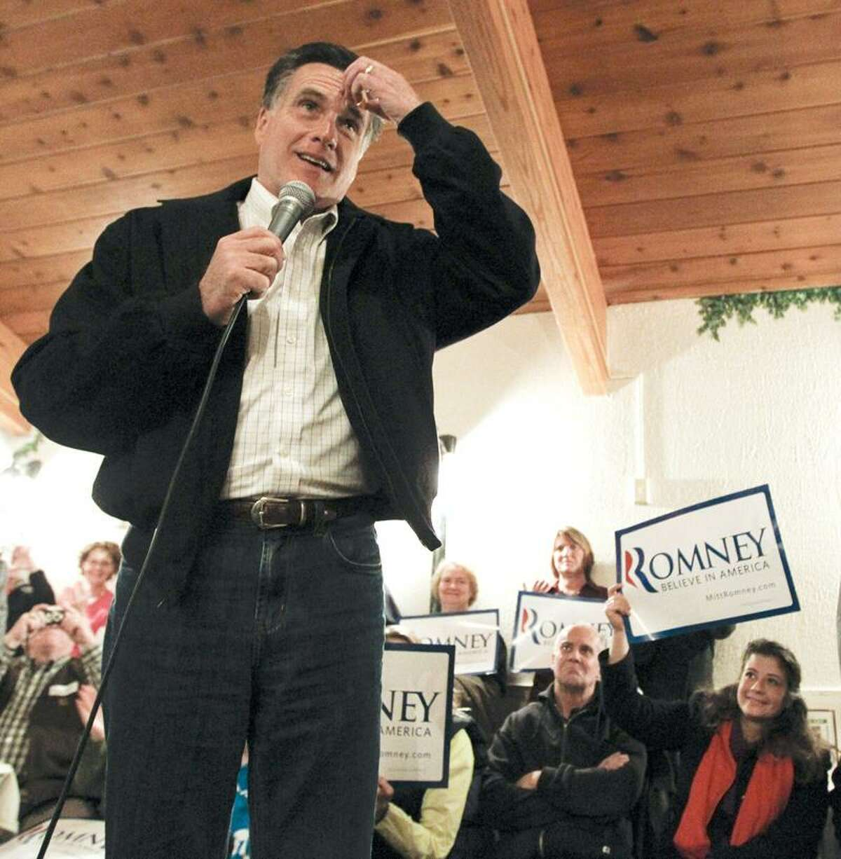 Republican presidential candidate, former Mass. Gov. Mitt Romney, speaks during a campaign stop at Rastrelli's restaurant in Clinton, Iowa, Wednesday. Associated Press