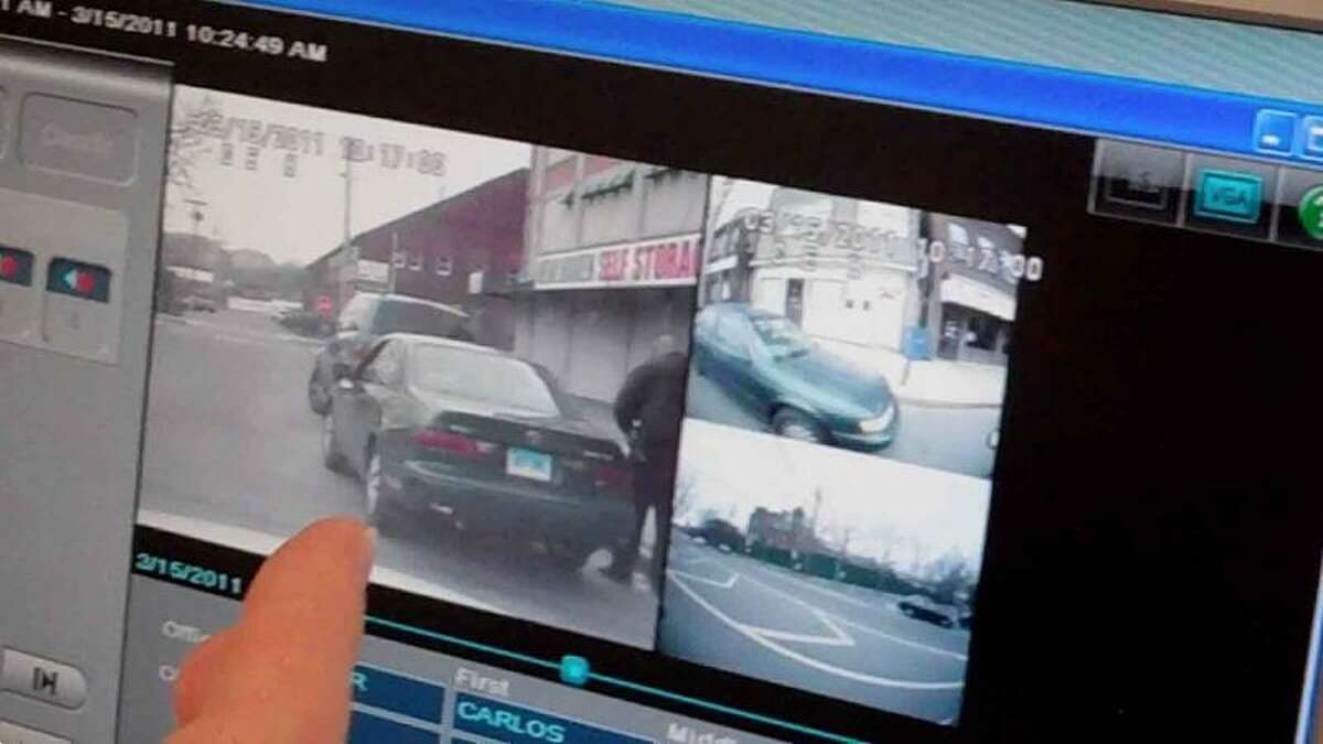 Video footage from a camera-equipped police cruiser in New Haven is shown Wednesday. William Kaempffer/Register