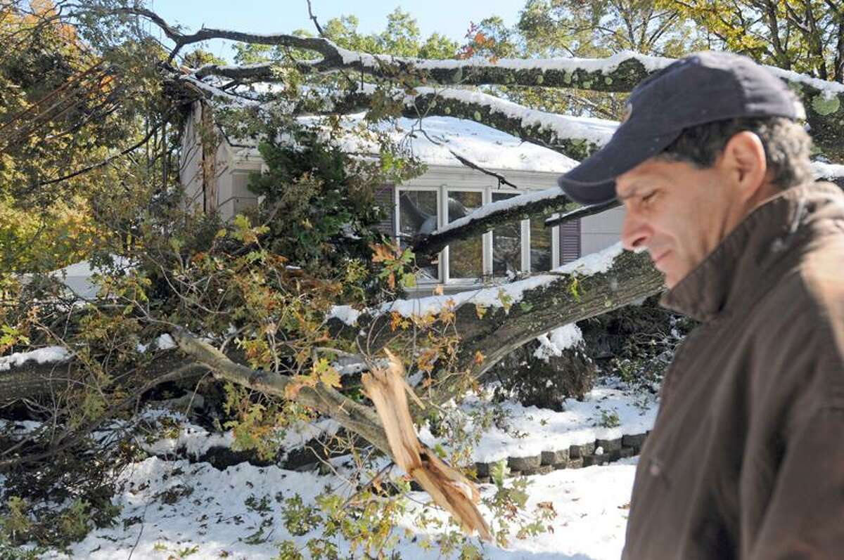 Andy Curello at his mother-in-law's house on Eramo Terrace off Shepard Avenue in Hamden Sunday afternoon. The tree was toppled by the snowstorm. Curello, who lives next to his mother-in-law, is also without power and water. Photo by Peter Hvizdak / New Haven Register