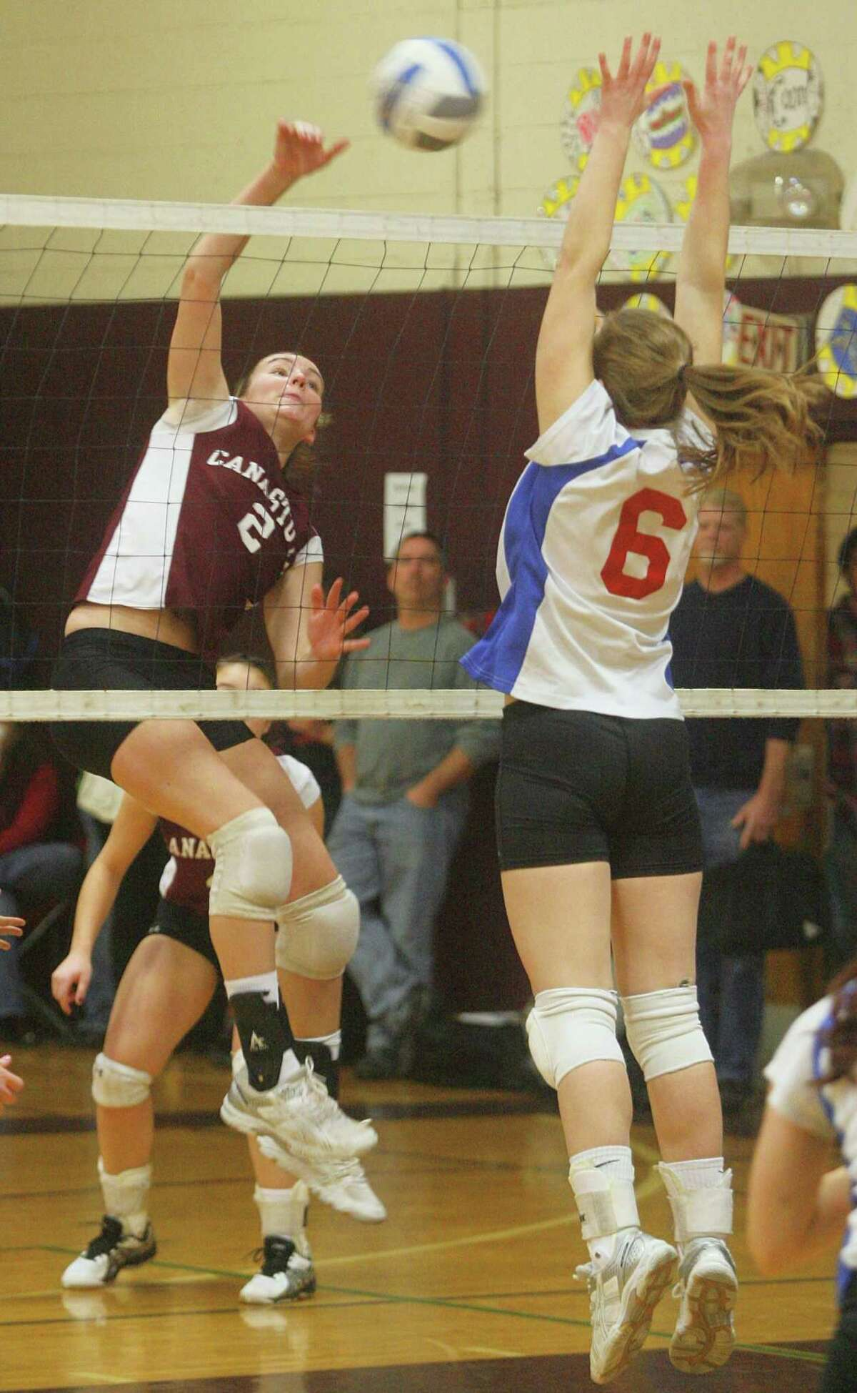 Dispatch Staff Photo by JOHN HAEGER twitter.com/oneidaphoto Canastota Tracy O'Hern (2) puts a shot over the net as New Hartford Nichole Pollard (6) defends during play in the Marcia