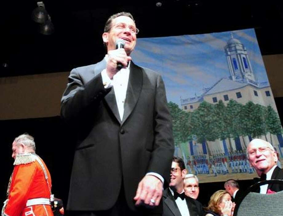 Governor Dan Malloy speaks to party goers  at the Inaugural Ball at the Connecticut Convention Center in Hartford on 1/5/2011.Photo by Arnold Gold/New Haven Register   AG0398B
