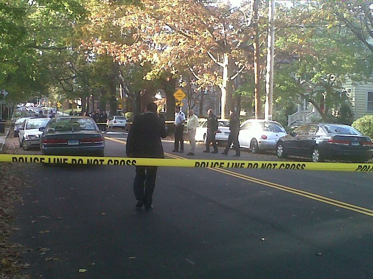 A man was shot and then left on the side of the road in the city's East Rock section this afternoon Photo by William Kaempffer