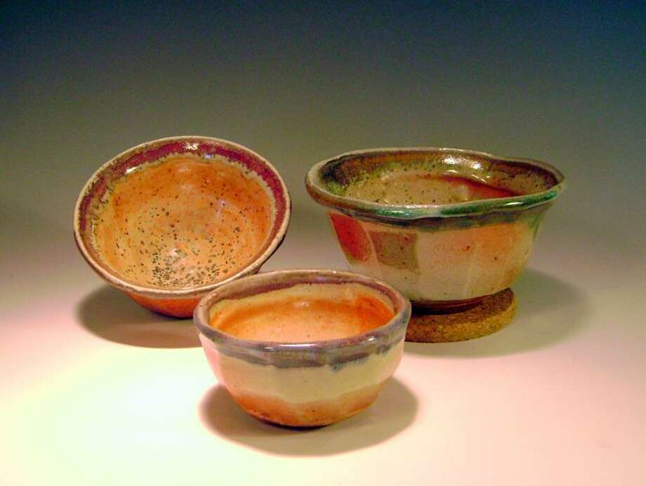 A set of three nesting bowls by potter Pam Church of Watertown.