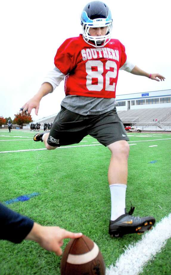 Southern Connecticut State University kicker Chris Hazleton practices kicking field goads on 10/27/2011.Photo by Arnold Gold/New Haven Register    AG0428D
