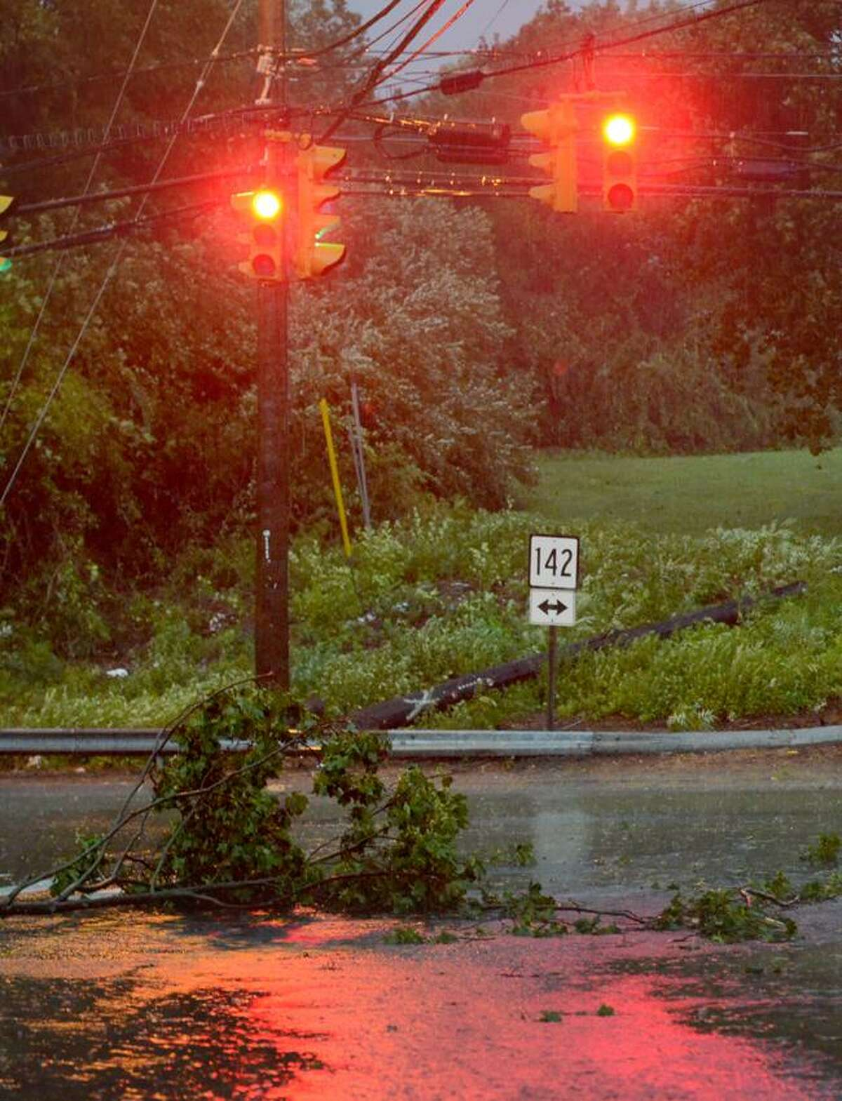 Tree branch down in the road at the intersection of Short Beach Rd and Stannard street in Branford during the early morning hours of Hurricane Irene. VM Williams
