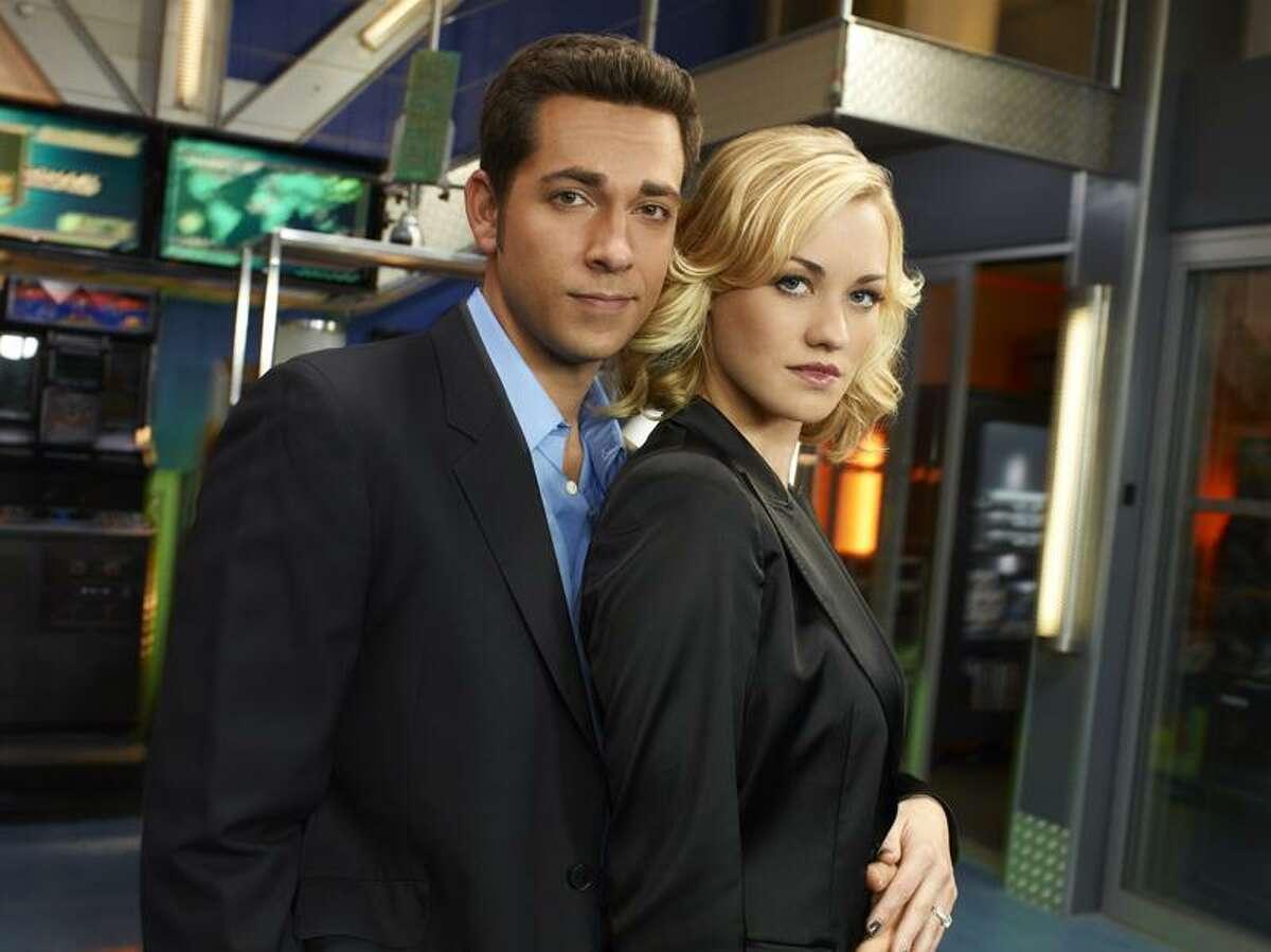 "NBC photo: Zachary Levy as Chuck Bartowski and Yvonne Strahovski as Sarah Walker in ""Chuck."""