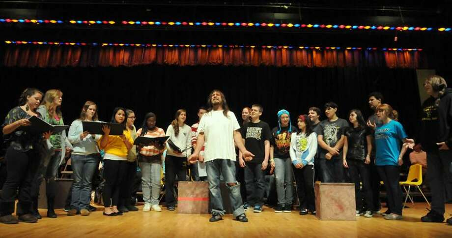 "Jonathan Law High School in Milford is putting on ""Jesus Christ, Superstar"" with Milford resident Carl Gent as Jesus, on a shoestring because there is no money in the budget for such productions. Mara Lavitt/New Haven Register"