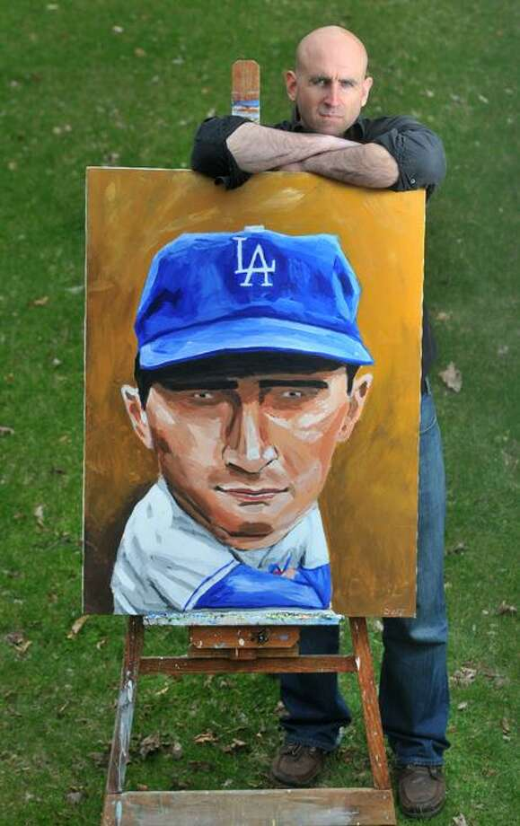 Brad Horrigan/Register photos: While sports fan and artist Dave Choate of Shelton has painted a full roster of New York Yankees, his portfolio also includes Sandy Koufax, above, Eddie Murray and Amare Stoudemire.