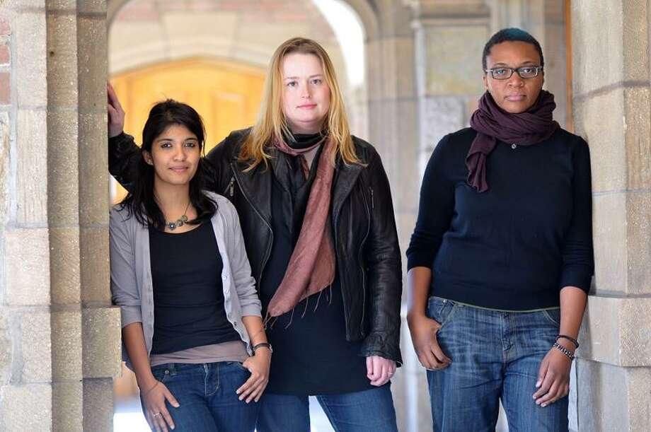 The Yale School of Drama 2011 Carlotta Festival playwrights are, from left, Dipika Guha, Meg Miroshnik and Christina Anderson. (Peter Casolino/New Haven Register)