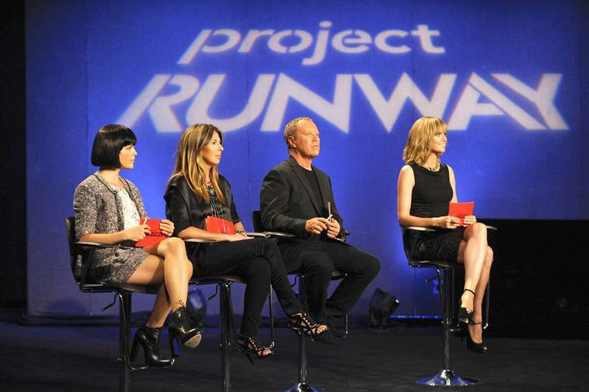 "Lifetime photo: From ""Project Runway"" Season 8 are guest judge Selma Blair, left, Nina Garcia, Michael Kors and host Heidi Klum."