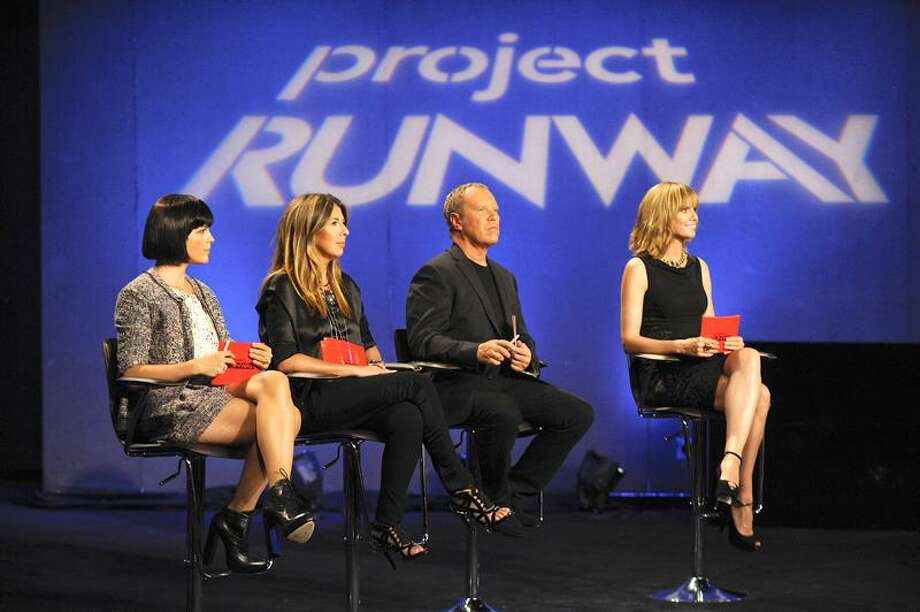"Lifetime photo: From ""Project Runway"" Season 8 are guest judge Selma Blair, left, Nina Garcia, Michael Kors and host Heidi Klum."