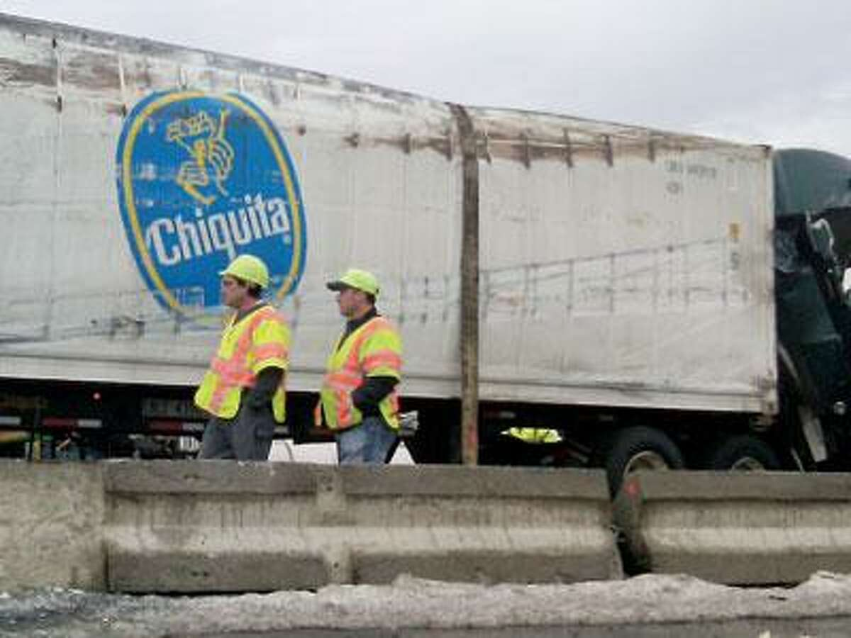 The damaged banana truck. (Melanie Stengel photos/Register)