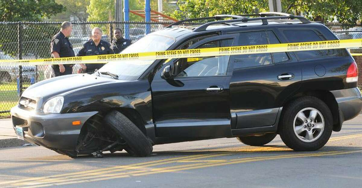 This SUV was involved in the chase. Melanie Stengel/Register