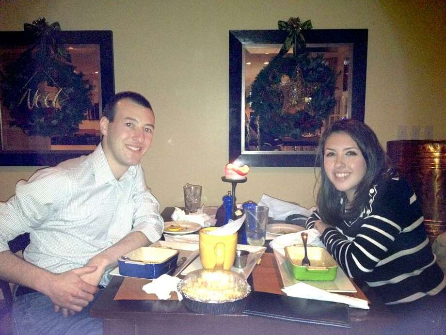 Contributed photo: Nick Gauthier of New Haven and Kristen DeYoung of Stamford dine at DeMil's in Hamden.