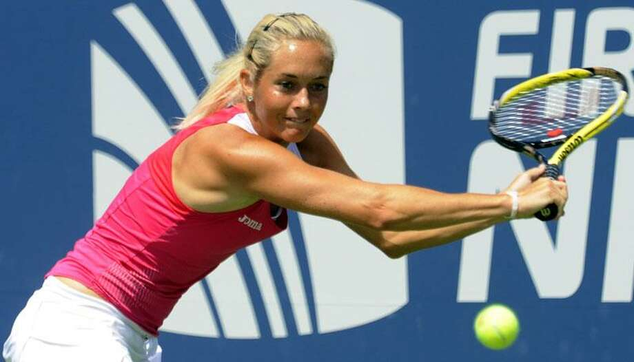 New Haven--The Czech Republic's Klara Zakopalova gets set to hit a return to Marion Bartoli of France at the New Haven Open Tennis Tournament Wednesday, Aug. 24, 2011. (Register Photo/Bob Child) Photo: New Haven Register