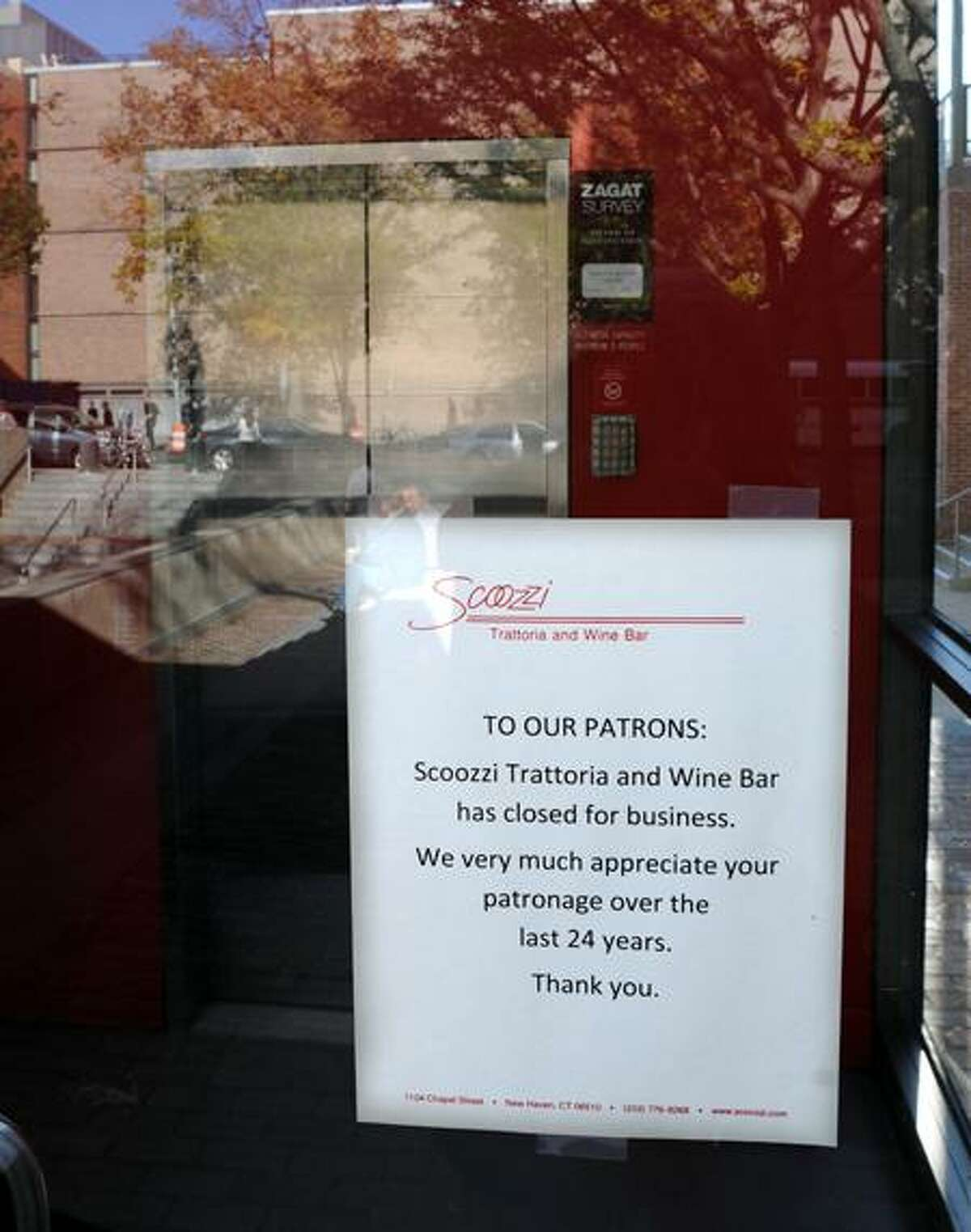 Scoozzi Trattoria and Wine Bar on Chapel Street in New Haven has closed after 24 years in business. Mara Lavitt/Register