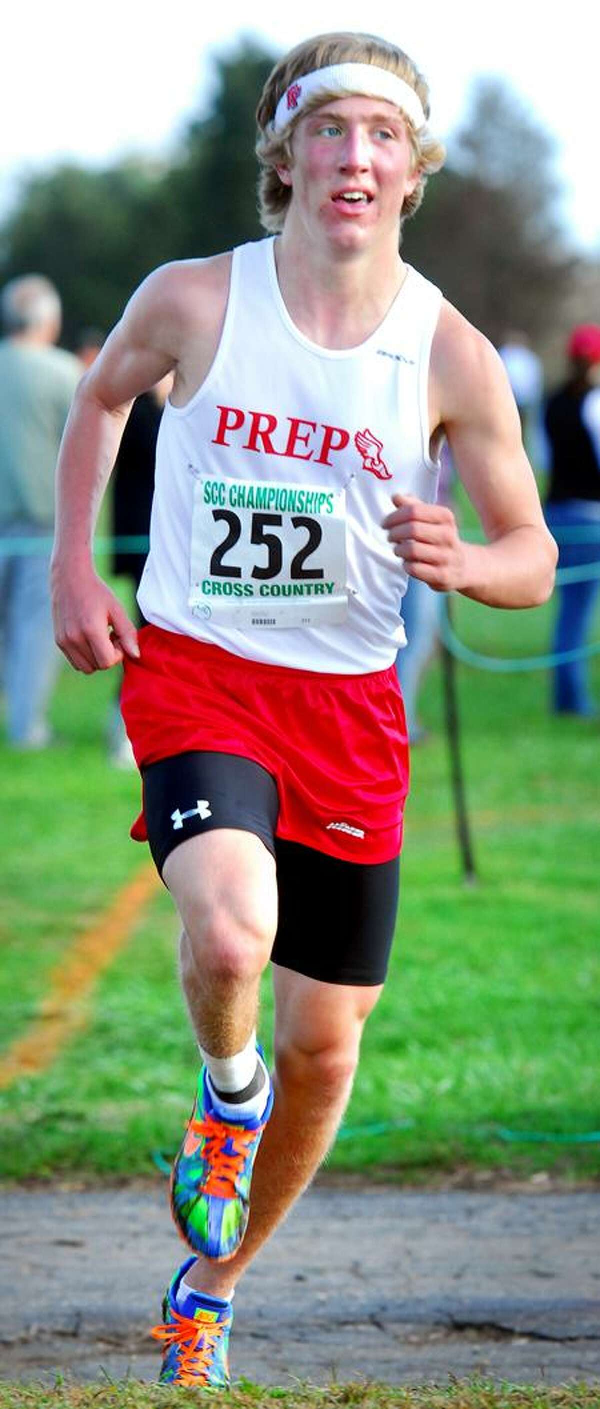 Connor Rog of Fairfield Prep is one of the top runenrs competing at this weekend's state championships. (Arnold Gold/Register)