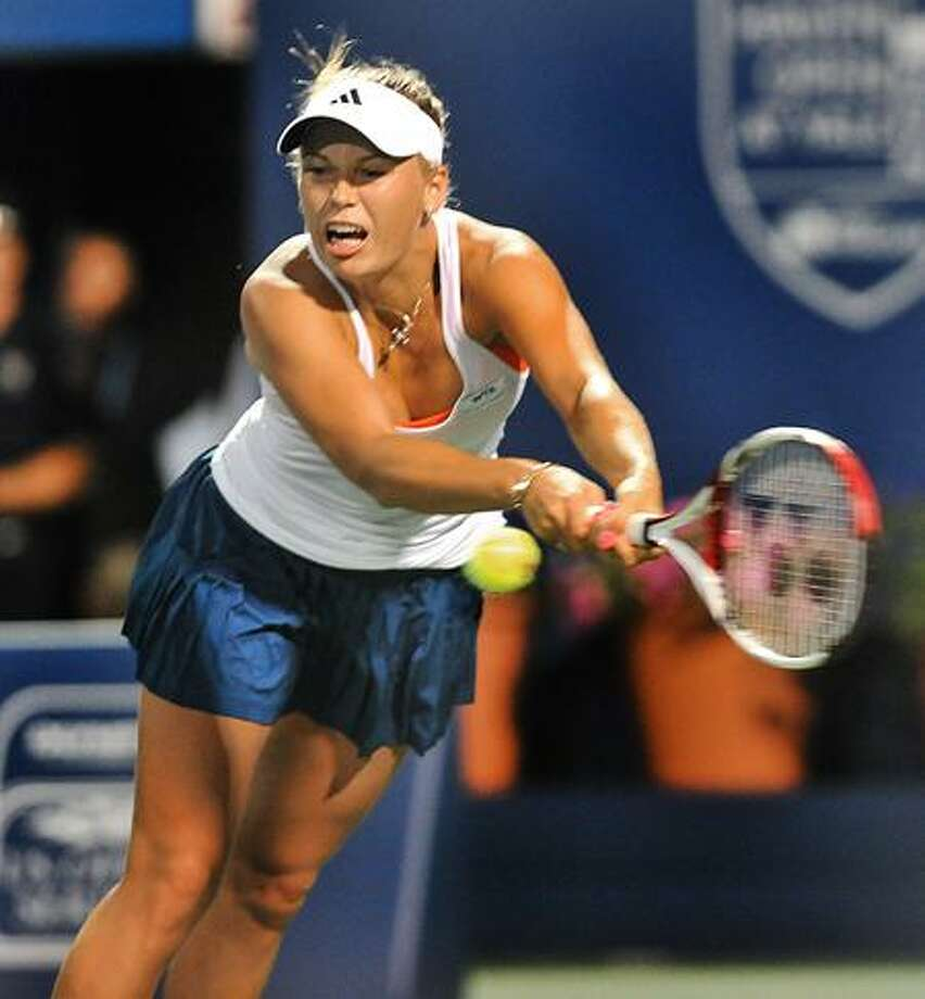 NEW HAVEN OPEN-- Caroline Wozniaki on her way to defeating Polona Hercog in straight sets.   Melanie Stengel/Register.