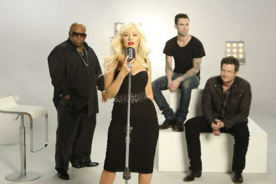 "From left, Cee Lo Green, Christina Aguilera, Adam Levine and Blake Shelton will perform on ""The Voice."" Photo: Michael Desmond/NBC / © NBC Universal, Inc."