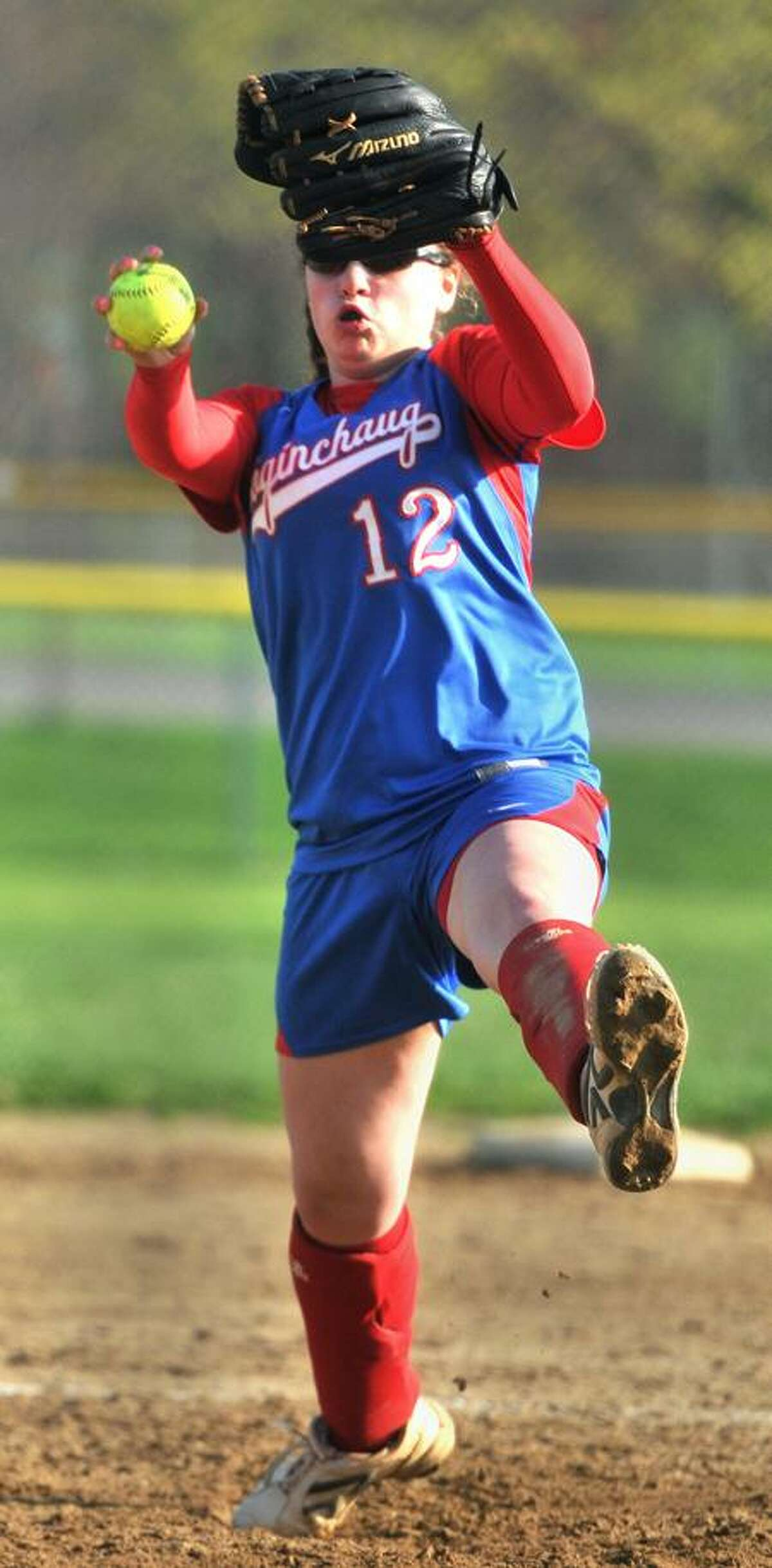 Coginchaug's Mari Handley gets ready to pitch against Old Lyme Monday. Photo by Brad Horrigan/New Haven Register.