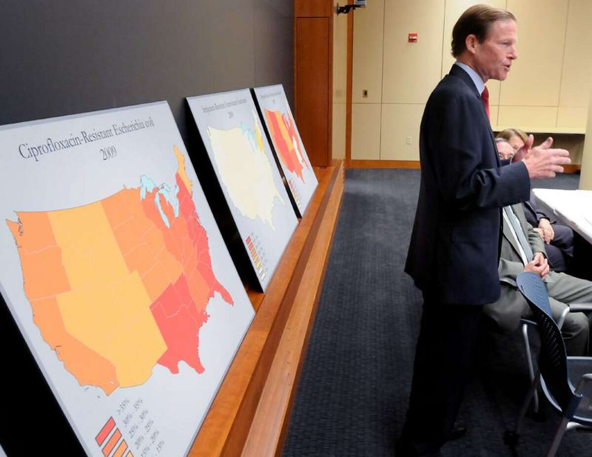 U.S. Sen. Richard Blumenthal speaks about the legislation he is co-sponsoring to spur research into antibiotics Monday at Yale-New Haven Hospital's clinical laboratory at 55 Park St., New Haven.(Mara Lavitt/Register)