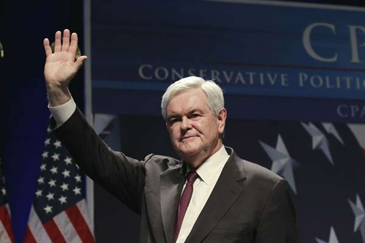 In a Feb. 10, 2011 file photo, former House Speaker Newt Gingrich addresses the Conservative Political Action Conference (CPAC) in Washington. Republican officials say Gingrich intends to take a formal step in the next two weeks toward a run for the 2012 Republican presidential nomination. The officials say an announcement is likely in the first half of March. (AP Photo/Alex Brandon, File)