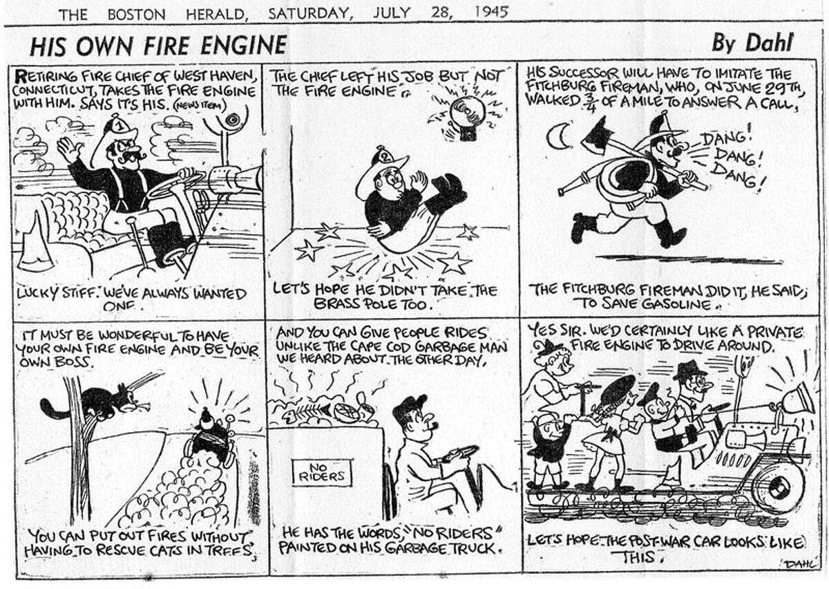 A 1945 Boston Herald cartoon about West Haven's first paid fire chief's retirement sits in a historical collection in the Central District firehouse.