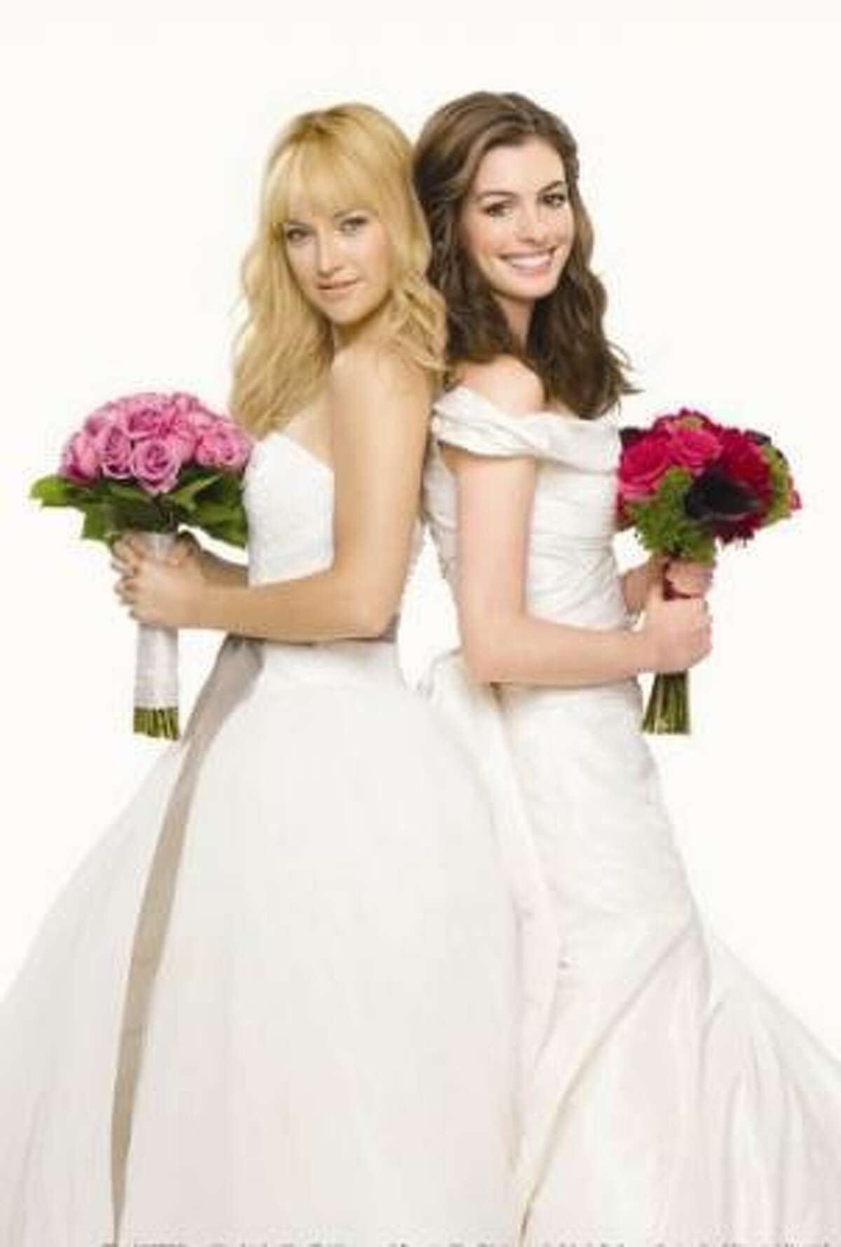 """Two longtime friends (Kate Hudson, left, and Anne Hathaway) see their nuptials inadvertently booked on the same day at the same hotel in """"Bride Wars,"""" airing Sunday at 9 p.m. on FX."""