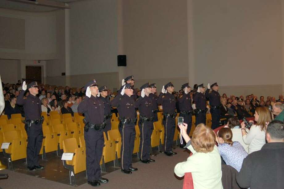 Fourteen police recruits recently graduated from the Milford Police Regional Recruit Academy. (Contributed photo)