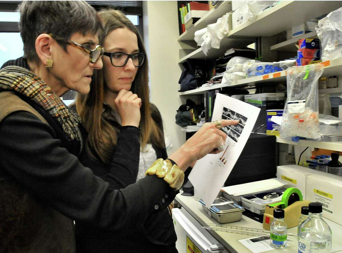 U.S. REP Rosa DeLauro D-3, l, discusses Alzheimer's disease research with Yale graduate student, Jacqueline Heiss. DeLauro was visiting the Yale School of Medicine to discuss the impact of research funding by the National Institute of Health. DeLauro is fighting to retain funding for the NIH. Melanie Stengel/Register