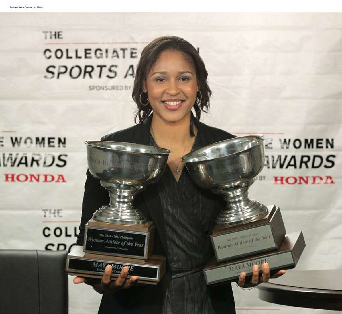 The Collegiate Women's Sports Awards today announced that Maya Moore, University of Connecticut basketball star and current forward for the WNBA Minnesota Lynx, has just won the Honda-Broderick Cup, designating her as the Collegiate Woman Athlete of the Year. (Photo: Business Wire)