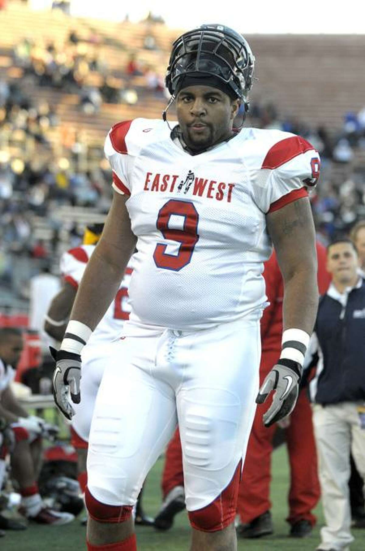 Richmond defensive tackle Martin Parker, who hails from New Haven, made NFL teams take notice with his performance at the East-West Shrine Game in January. (AP Photo/Phelan M. Ebenhack)